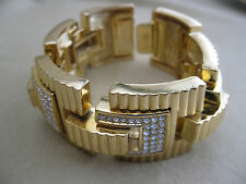 CHRISTIAN DIOR Goldtone Clear Crystal Rectangle Ridged Hinged Bracelet - Signed