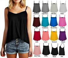 Women Ladies Camisole Thin Strap Stretchy Basic Plain Flared Swing Vest Top