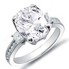 2.87 Ct Oval Cut,Princess & Round Cut Diamond Engagement Ring F,Si2 Egl Platinum