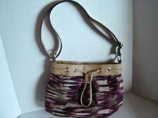 SHOULDER BAG HANDBAG PURSE CLOTH WITH FAUX LEATHER TRIM BURGUNDY GREEN and TAN