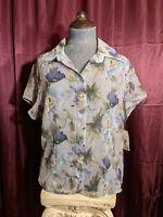 NEW Petite Sophisticates Blue Floral Button Sheer Blouse Womens L NWT Closet7*