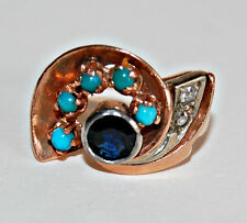 Vintage RETRO 14K GOLD RING - Turquoise, Sapphire, Diamond Ring, Swirl (YY33)