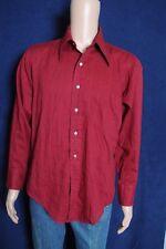 Vtg 70s GetAway By Arrow burgandy textured button front L/S shirt L