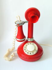 1980 Rare Vintage Soviet USSR Desk Red Phone Telephone Candlestick Rotary Dial