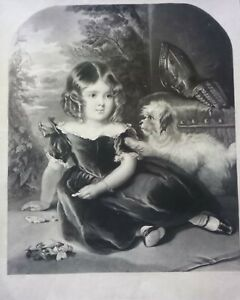Incisione all'acquatinta Bambina con cane di T.M. Joy 1845 (P588) Come da foto