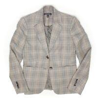 Brooks Brothers Sample Womens Blazer 4 Beige Gray Plaid Wool Linen Blend Jacket