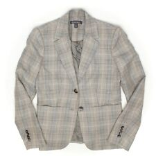 Brooks Brothers Sample Womens Blazer 4 Beige Gray Plaid Wool Linen Blend Jacket