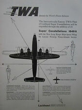 8/1955 PUB LOCKHEED SUPER CONSTELLATION 1649A AIRLINER TWA AIRLINE ORIGINAL AD