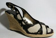 BANANA REPUBLIC Womens 7.5 M Brown White Peep Toe Sling Back Wedge Heels Shoes