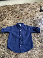 Janie and Jack Navy Blue  Button Down Shirt Size 12/18 Months Baby Boy's EUC