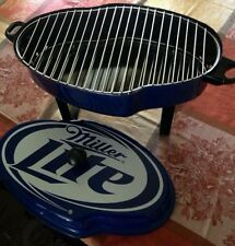 NIP MILLER LITE LOGO SHAPED BBQ GRILL BY ACME TAILGATE  BLUE HIGH LIFE MGD