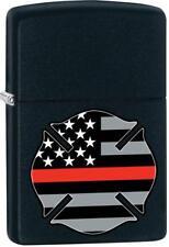 Zippo Flag Red Line Design Black Matte Windproof Pocket Lighter 29553 **NEW**