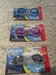 Lot 3 Swimming anti fog Goggle by Aqua flex frame, silicon adjustable strap 7+ y