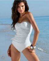 NEW LA BLANCA Women's Sz 14 White Bandeau One Piece Swimsuit $109 MSRP