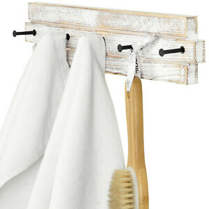 Wall Mounted Whitewashed Wood & Metal 5-Hook Bathroom Hand Towel Holder Rack