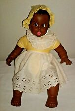 Vintage 1979 Gerber Products Co African American Doll Yellow Gingham Moving Eyes