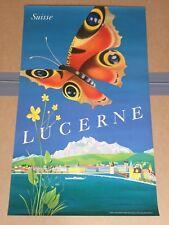 AFFICHE PUBLICITAIRE ANCIENNE TRAVEL SUISSE LUCERNE 1953
