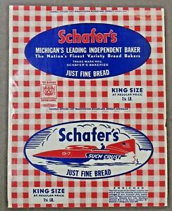 rare 1950's Schafer's SUCH CRUST Bread w/ graphics of G-7 Hydroplane Race Boat ^