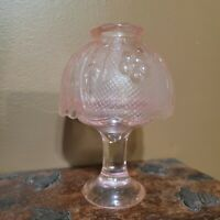 Vintage Indiana Glass Fairy Lamp Pale Pink Tiara Sandwich Pattern Depression