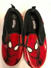 """Marvel Ultimate Spiderman Size 1 Boys Canvas Slip On Loafer Shoes New 9"""" Long"""