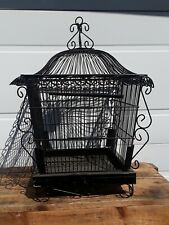 Vintage metal bird cage Black 19.5 inches tall