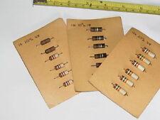 6x 1.8K Ohm/6x 10 M Ohm Vintage Carbone résistances nos (1960's-70's)