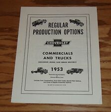 1953 Chevrolet Commercial & Truck Regular Production Options Manual 53 Chevy
