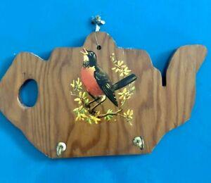 Vintage Handmade Wood Folk Art Key Hook Teapot w/ Bird