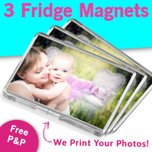 3 Personalised Custom Photo Gift Fridge Magnets 70 x 45 mm | Your Pic Printed!
