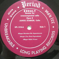 SPL 510 Janos Starker Kodaly Cello Suite Violin Duo Period Vinyl **NO COVER**