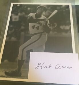 Hank Aaron Signed Auto Autograph 8x10 Photo + Index Card Milwaukee Brewers 1976