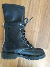 BLACK LEATHER BOOTS SIZE 6 COMBAT STYLE ZIPPER LIMITED EDITION 100% AUTHENTIC