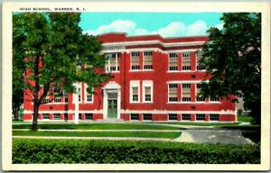 "1930s Warren, Rhode Island Postcard ""HIGH SCHOOL"" Building / Street View Tichnor"