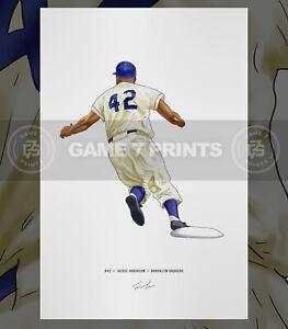 Jackie Robinson 42 Brooklyn Dodgers Illustrated Baseball Print Poster Art