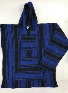 Mexican Poncho Baja Hoodie Surfer Skater Drug Rug Pullover Blue/Black UNISEX