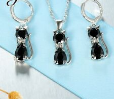 Genuine 925 Sterling Silver Cubic Zirconia Cat Necklace,Pendant and Earrings