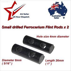 2x Small Drilled Ferrocerium Flint Fire Lighting Rods 8 x 26mm paracord bracelet