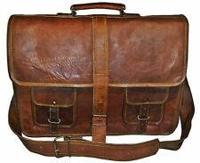 "16"" Large brown Leather bag for men messenger bag shoulder bag mens Laptop Bag,"