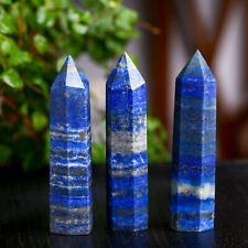 Natural Lapis Lazuli Quartz Crystal Point Obelisk Stone Wand Healing Reiki Gift
