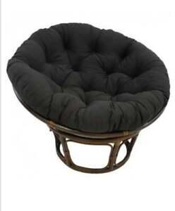 "Blazing Needles Papasan Cushion Solid Black Twill 48"" NEW"