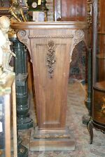 TURN OF THE CENTURY ANTIQUE  TALL , WIDE CARVED  PEDESTAL COLUMN