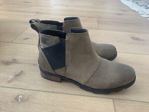 Sorel Emelie Chelsea Waterproof Ankle Boots Quarry Women's Size 9