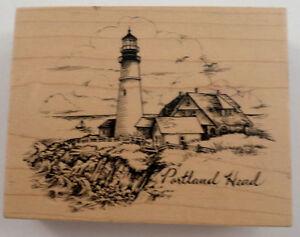 Psx K-2779 Portland Head Cliffside Lighthouse Scene Rubber Stamp