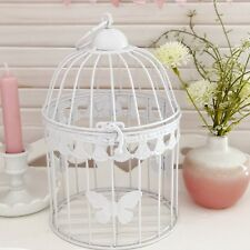 WHITE BUTTERFLY SHABBY VINTAGE CHIC BIRDCAGE CANDLE HOLDER WEDDING TABLE DECOR