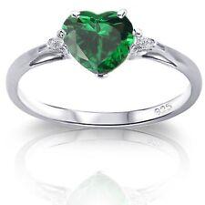Elegant Heart Genuine Sterling Silver Simulated Diamond / Opal Birthstone Ring