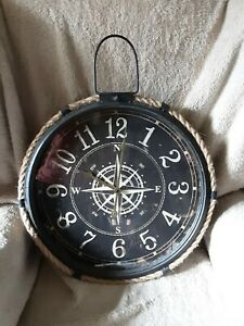 Large Nautical Antique Compass Style ,Rope Clock
