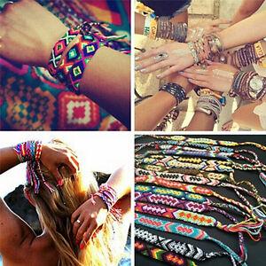 Friendship Bracelet Handmade Woven Rope String Hippy Boho Embroidery Bracelet ZT