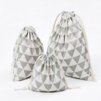 Cotton Linen Drawstring Storage Bag Toy Laundry Organizer Travel Pouch Q