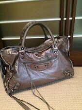 Balenciaga Classic City Shoulder Bag Satchel Metallic Silver (larger size)
