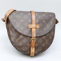 LOUIS VUITTON CHANTILLY GM Crossbody Shoulder Bag Purse Monogram M51232 Brown